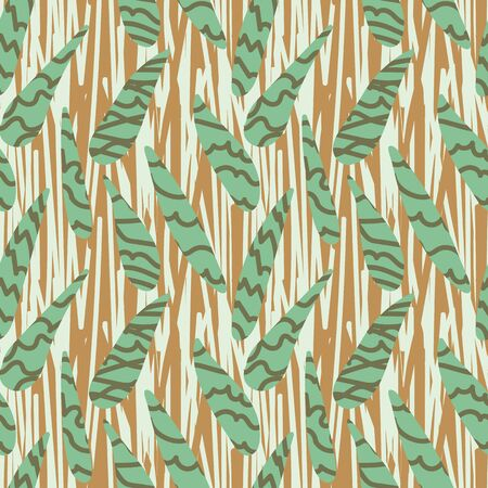 A seamless vector pattern with leaf shapes and abstract lines texture. Surface print design.