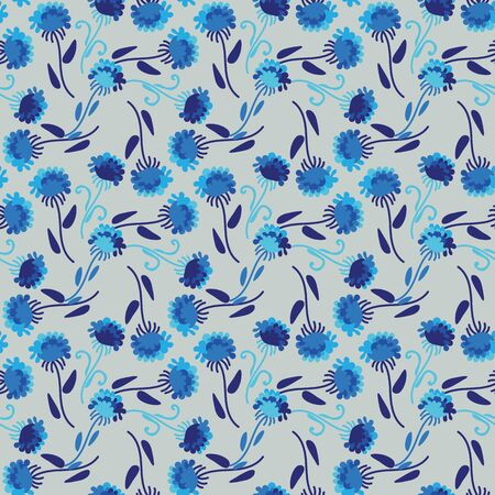 A seamless vector pattern with simple blue flowers in a geometric layout. Surface print design immitating traditional porcelain patterns. 写真素材 - 129606104