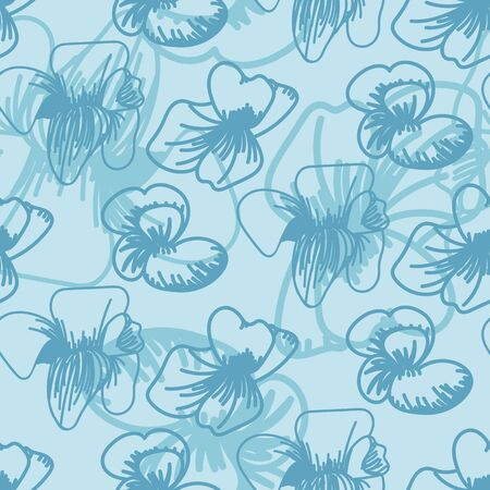 A seamless vector pattern with flower outlines on a blue background. Surface print design.  イラスト・ベクター素材