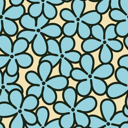 A seamless vector pattern with simple blue forget me not flowers on a pastel yellow background. Surface print design.