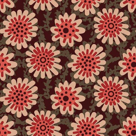 A seamless vector pattern with simple round flowers in red and brown. Surface print design.