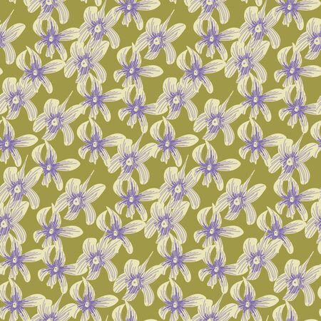 A seamless vector pattern with light orchid flower heads scattered on a green background. Surface print design.