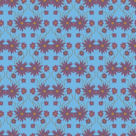 A seamless vector pattern with purple floral ornament on a blue background. Surface print design. 写真素材 - 129630227