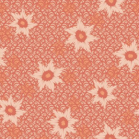 A seamless vector pattern with floral shapes on ornamental textured background. Surface print design.