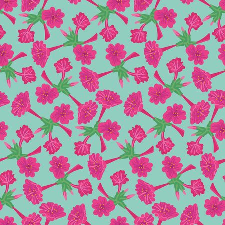 A seamless vector pattern with vivid pink flowers on a blue background. Surface print design. 写真素材 - 129630245