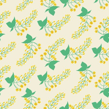 A seamless vector pattern with branches of yellow flowers. Surface print design. 写真素材 - 129630240