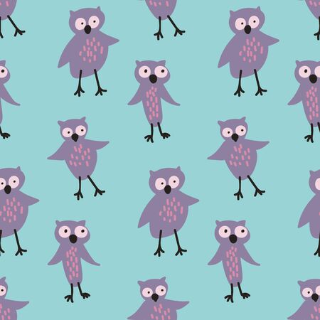 A seamless vector pattern with cute purple owls on a a blue background. Surface print design. Ilustração