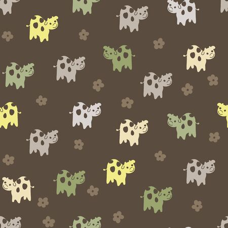 A seamless vector pattern with group of friendly cows on a dark background. Surface print design.