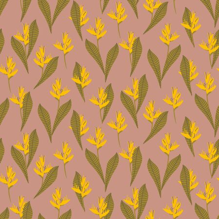 A seamless vector tropical pattern with yellow heliconia flowers. Surface print design.  イラスト・ベクター素材