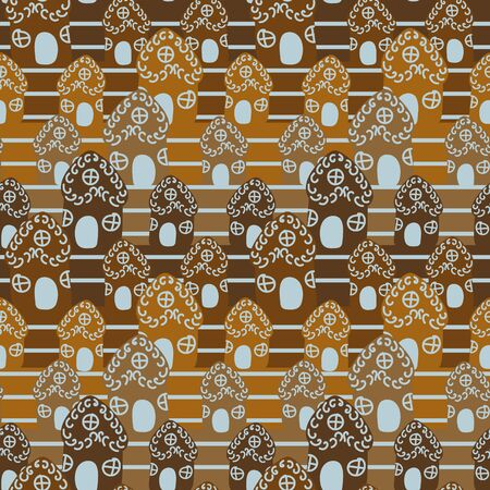 A seamless vector striped pattern with gingerbread houses. Surface print design.