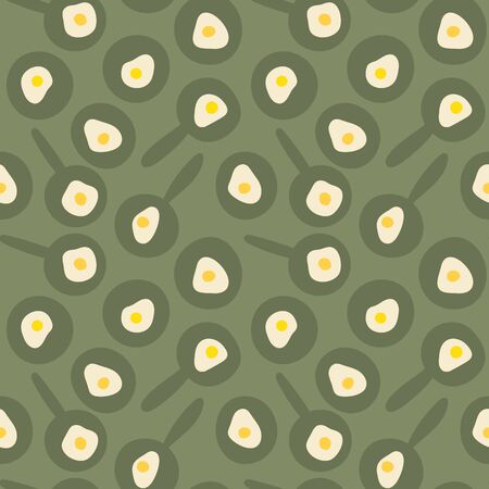 A seamless vetor pattern with fried eggs, pans and plates. Surface print design. Illustration