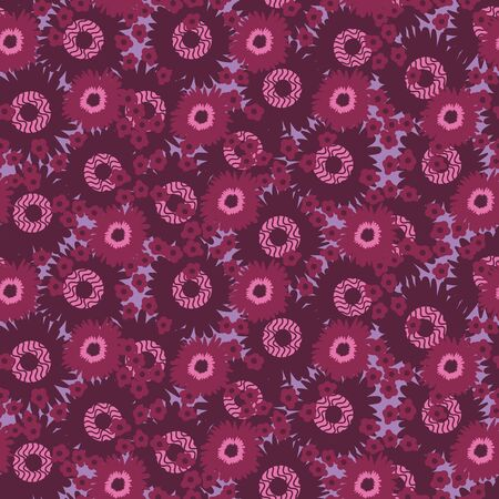 A seamless vector pattern with purple round flowers. Surface print design.