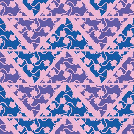 A seamless vector hevron geometri pattern with floral ornament. Surface print design.