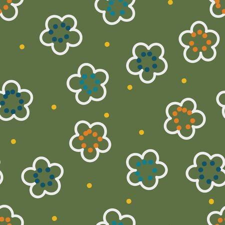 A seamless vector pattern with simple white outlined florals on a green background. Surface print design.