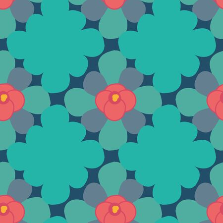 A seamless vector geometric pattern with teal diamond shapes and simple coral colored flowers. Surface print design. 写真素材 - 129687545