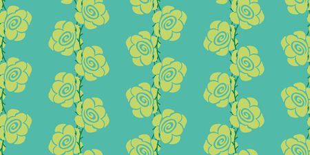 A seamless vector pattern with vertical stripes of yellow roses on a bright teal background. Surface print design.