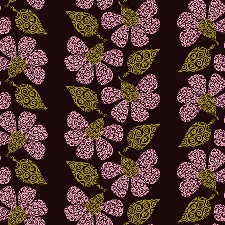 A seamless vector pattern with vertical stripes of decorative pink flowers and green leaves on a dark background. Surface print design.