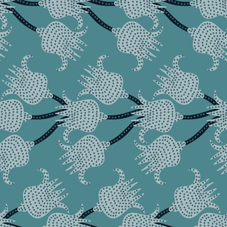 A seamless vector pattern with blue floral horizontal stripes. Surface print design.  イラスト・ベクター素材