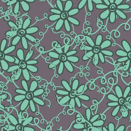 A seamless vector pattern with flowersandtangled vines in patina green color. Surface print design. Çizim