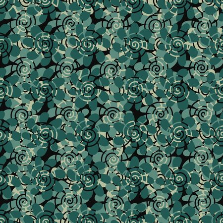 A seamless vector abstract organic pattern in shades of teal and green. Surface print design. Illustration