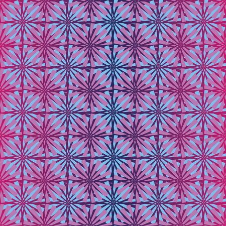A seamless vector pattern with pink and blue geometric stars ona gradient violet background. Surface print design.