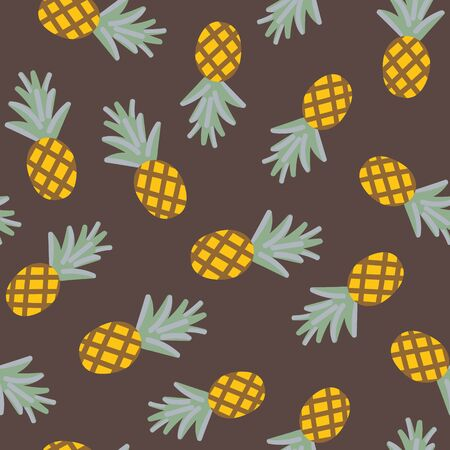 A seamless vector pattern with scattered pineapples on a brown background. Surface print design.