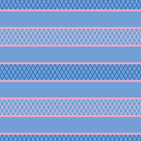 A seamless vector abstract horizontal stripes pattern in blue and pink. Surface print design.