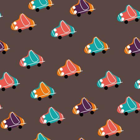 A seamless vector pattern with childish colorful toy cars on a brown background. Surface print design.