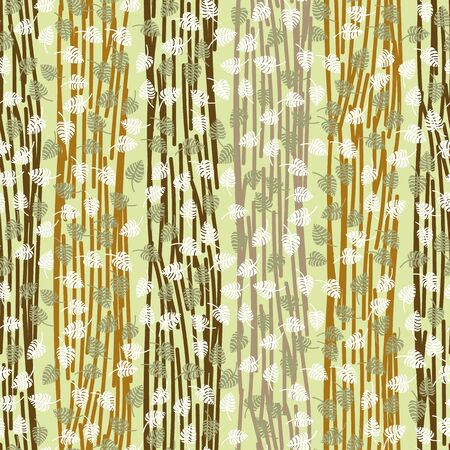 A seamless vector forest themed pattern with stripesand leaves in browns and greens. Surface print design.