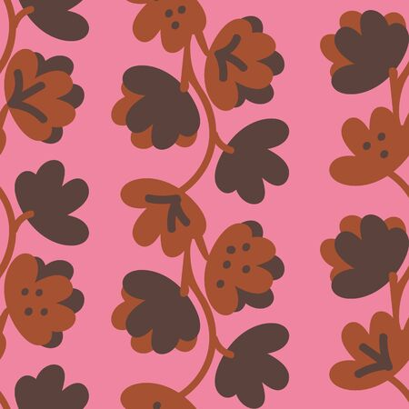 A seamless vector pattern with brown leaves and florals on a pink background. Surface print design. Illustration