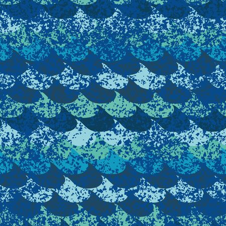 A seamless vector pattern with textured ocean waves. Surface print design.