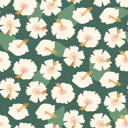 A seamless vector pattern with pale hibiscus flowers and leaves. Surface print design. Ilustracja
