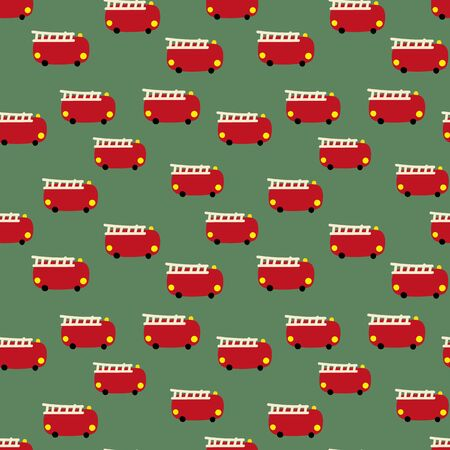 A seamless vector pattern with little red toy fire engines on a green background. Surface print design. Фото со стока - 130679315
