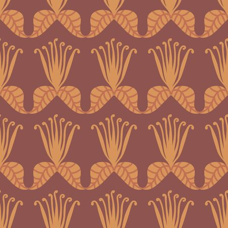 A seamless vector pattern with stylized flowers and leaves in yellow and brown. Surface print design.