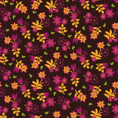 A seamless vector deorative pattern with pink and yellow flowers and green hearts on a dark background. Surface print design.