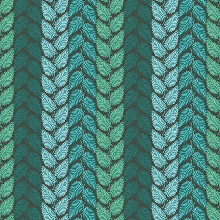 A seamless vector botanical pattern with stripes of leaves in few shades of green and teal. Surface print design.