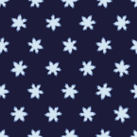 A seamless vector pattern with light snowflakes on a dark indigo blue background. Surface print design.