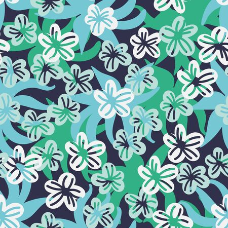 A seamless vector pattern with leaves and flowers in jade green colors. Surface print design.