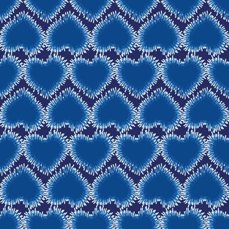 A seamless vector pattern with indigo blue hearts. Surface print design.