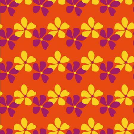 A seamless vector pattern with pink an yellow flowers on a orange background. Surface print design