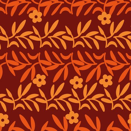 A seamless vector striped pattern with orange and red autumn leaves. Surface print design.