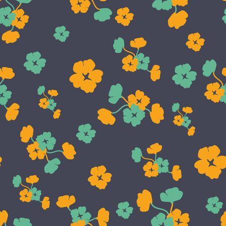 A seamless vector pattern with teal and yellow flowers on a dark graphite background. Moody feminine surface print design. Great for home decor, apparel and paper.