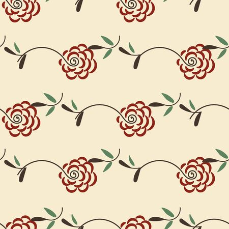 A seamless vector vintage pattern with red roses and green leaves. Feminine and romantic surface print design. Great for cards, invitations and fabric.