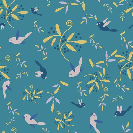 A seamless vector pattern with birds, branches and berries on a blue background. Beautiful feminine surface print design. Great for textiles and stationery Stok Fotoğraf - 131652592