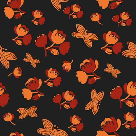 A seamless vector pattern with orange flower groups and flying butterflies on a dark background. Surface print design.