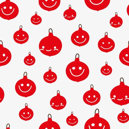 A seamless christmas vector pattern with red smiling christmas baubles on a white background. Surface print design great for gift wrap, cards and textiles Stok Fotoğraf - 131652656