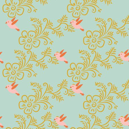 A seamless vector pattern with golden flowers and pink birds on a pastel blue background. Surface print design great for cards, wedding invitations stationery, gift wrap and textiles.
