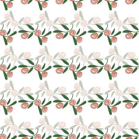 A seamless vector decorative pattern with simple doodle roses. Romantic surface print design great for cards, invitations and tetiles. Stok Fotoğraf - 131679776