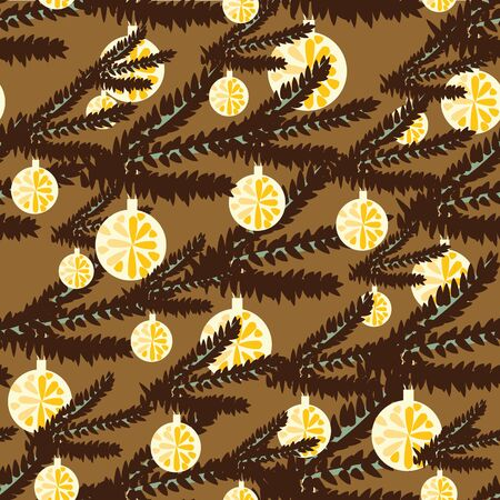 A seamless vector pattern with christmas tree branchesand round ornaments in brown colors. Surface print design. Great for neutral colored gift wrap, cards and packagings. Illustration
