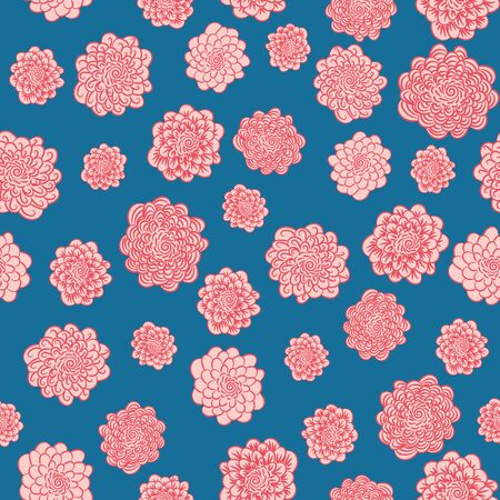 A seamless vector decorative pattern with pink round flowers on a blue backgrond. Interesting surface print design. Great for textiles and stationery.